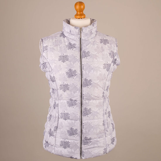 Digitally printed multi grey maple leaves hooded gilet