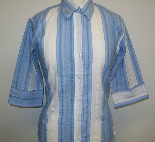 Ladies Blue and White wide Stripe Seersucker - 3/4 Sleeve Relaxed Fit