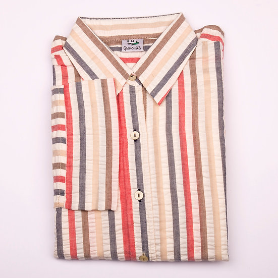 Beige, brown, red and navy wide stripe seersucker 3/4 sleeve relaxed fit shirt_Folded