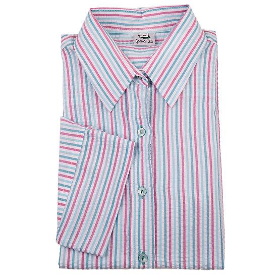 Ladies pink and green stripe Seersucker - 3/4 Sleeve - 321G