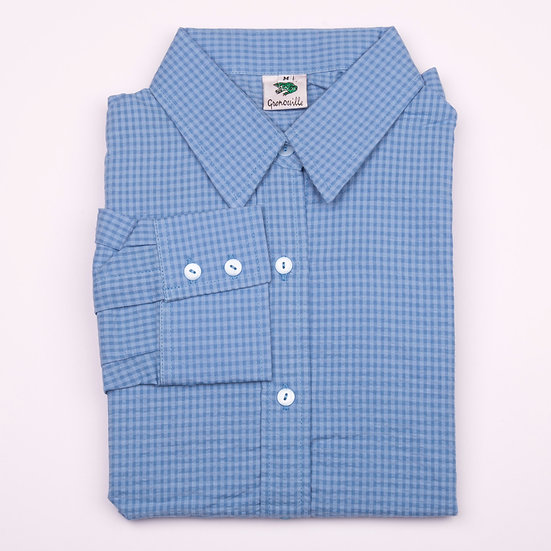Blue on blue check seersucker long sleeve relaxed fit shirt_Folded
