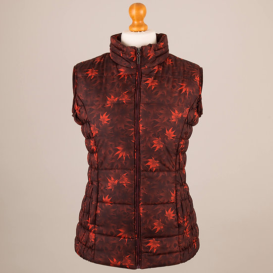 Digitally printed orange and red maple leaves hooded gilet