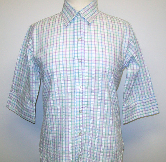 Ladies Lilac, Blue and Green Check Seersucker - 3/4 Sleeve Relaxed Fit