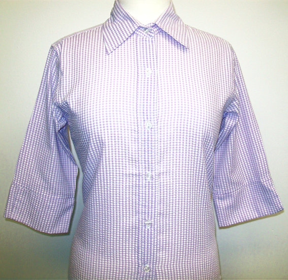 Ladies Lilac and White Check Seersucker - 3/4 Sleeve Relaxed Fit