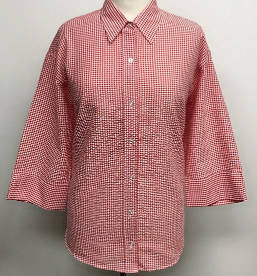 Ladies Red and White Check Seersucker - 3/4 Sleeve Relaxed Fit