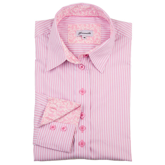 Pink stripes with pink with small white flower contrast relaxed fit shirt_Folded