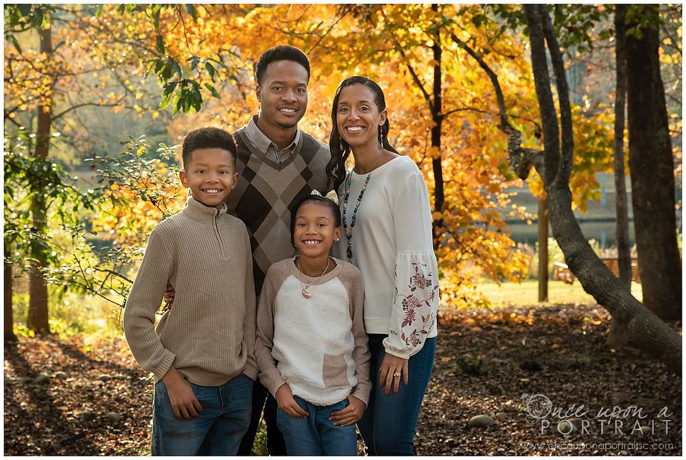 Furman University family portraits outdoors fall autumn leaves kids children