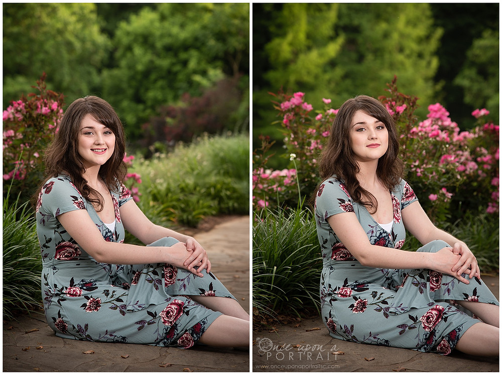 high school senior homeschool falls park greenville flowers nature girl footpath smiling