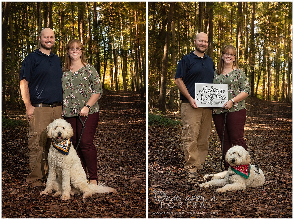 Furman University family photos dog pet fall woods Christmas