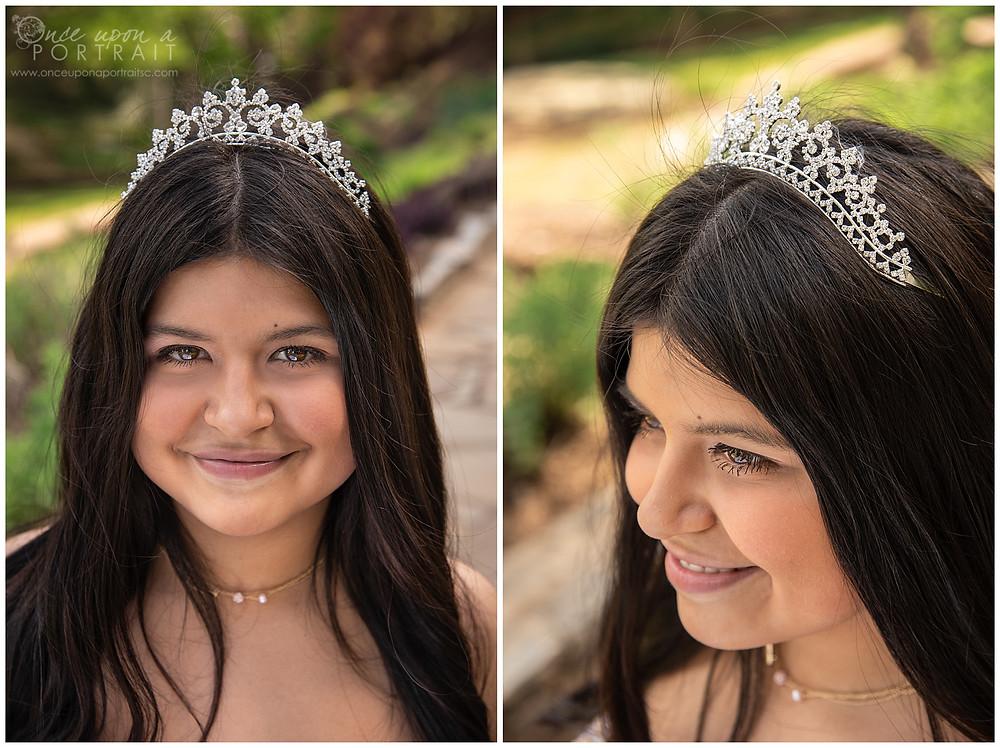 Falls Park Quinceañera 15 sweet sixteen 16 princess ballgown bouquet tiara beautiful pink portrait