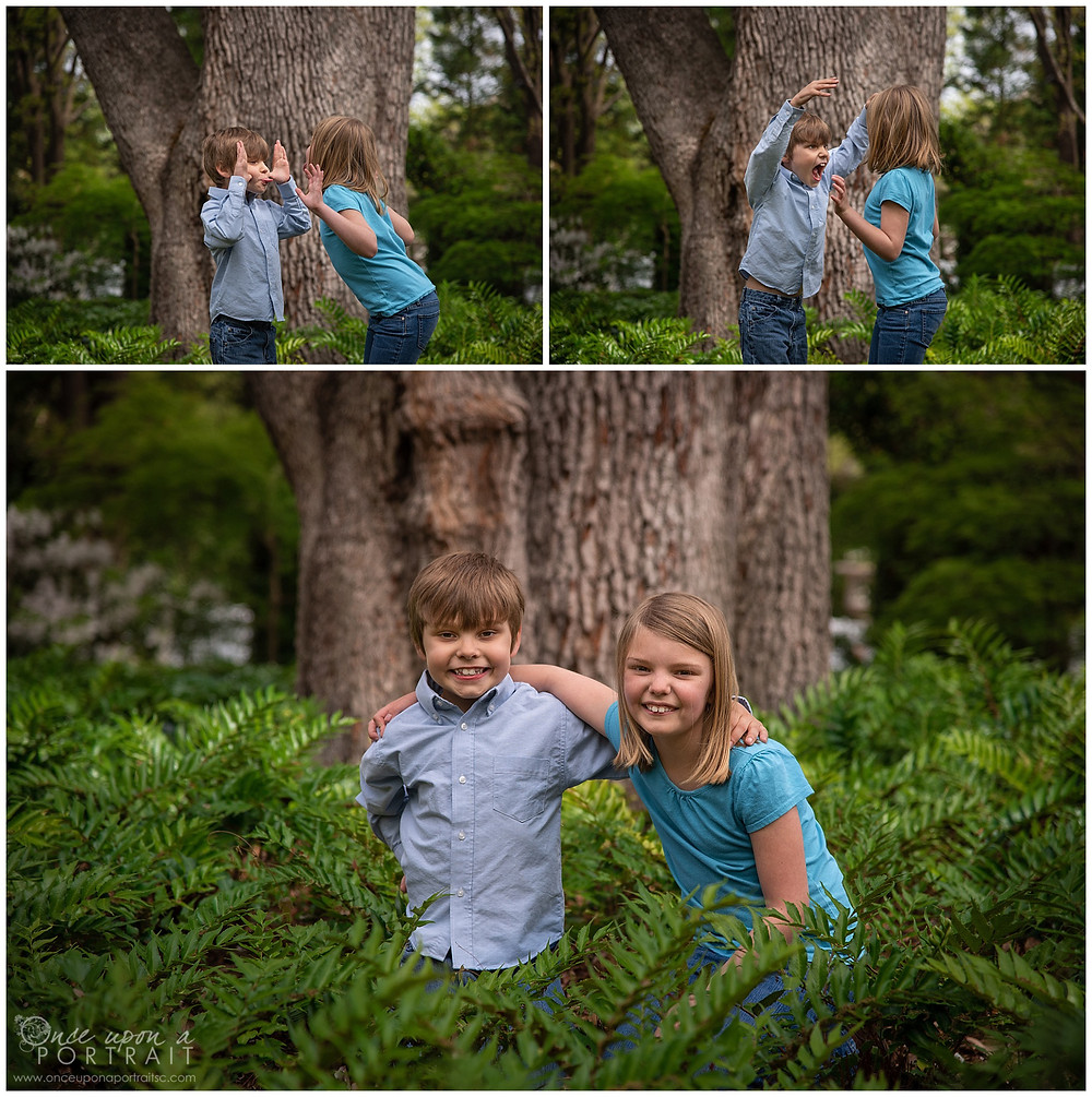 Family session Lace House columbia spring blue green siblings kids ferns trees candid playtime