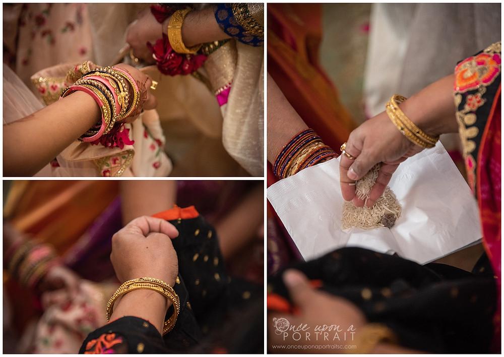 Hindu baby shower ceremony parents mother details saree