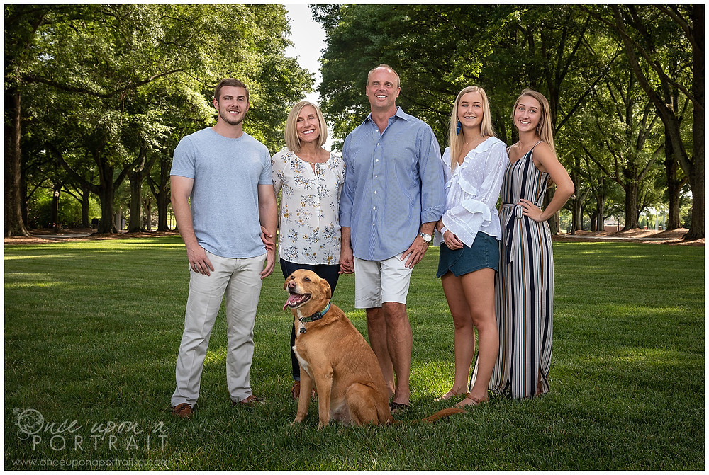 Furman University family portraits pet dog green spring