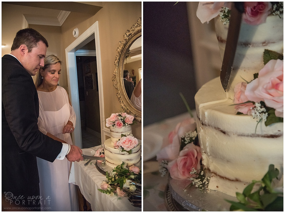 simpsonville intimate wedding cake cutting toast reception
