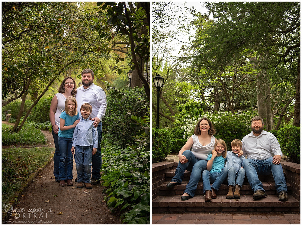 Family session Lace House columbia spring blue green mom dad kids children siblings
