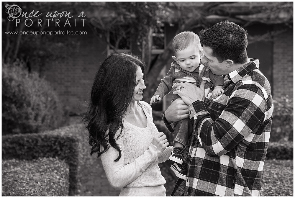 Furman University mom dad baby toddler fall autumn Christmas posed black and white rose garden