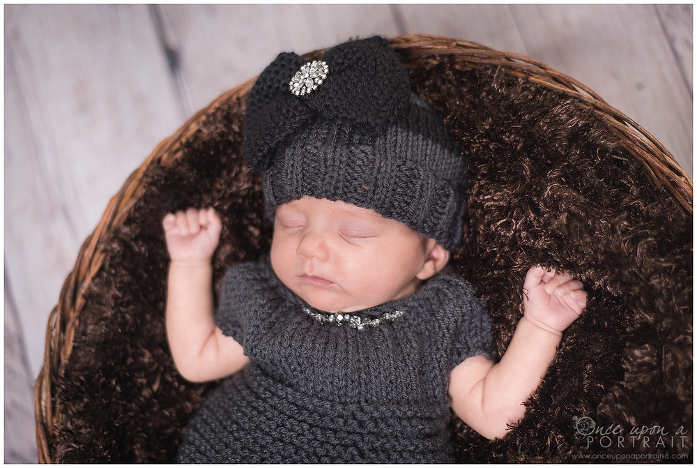 newborn preemie premature baby girl spring dress gray grey hat bow sleeping black brown
