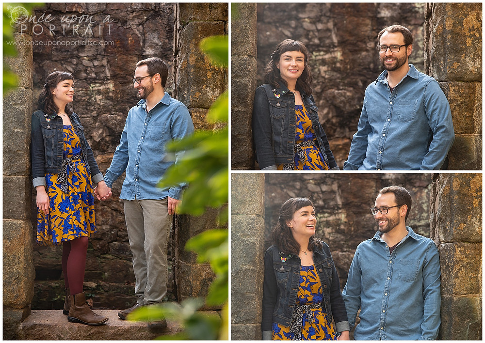 Paris Mountain Greenville Woods engagement fall tower laughing