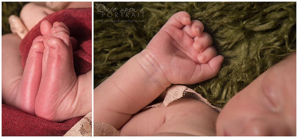 newborn baby boy studio session green red sleeping lace feet hands detail