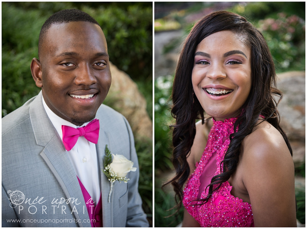 prom 2017 date in falls park with corsage boutonniere