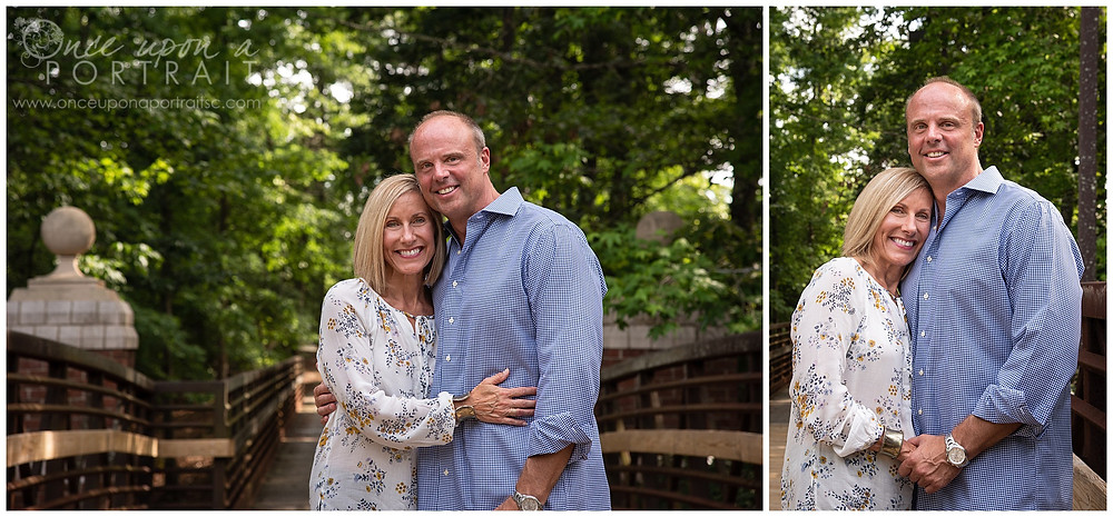 Furman University portraits mom dad husband wife bridge