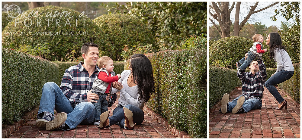Furman University family mom dad baby toddler fall autumn Christmas posed candid red white black rose garden