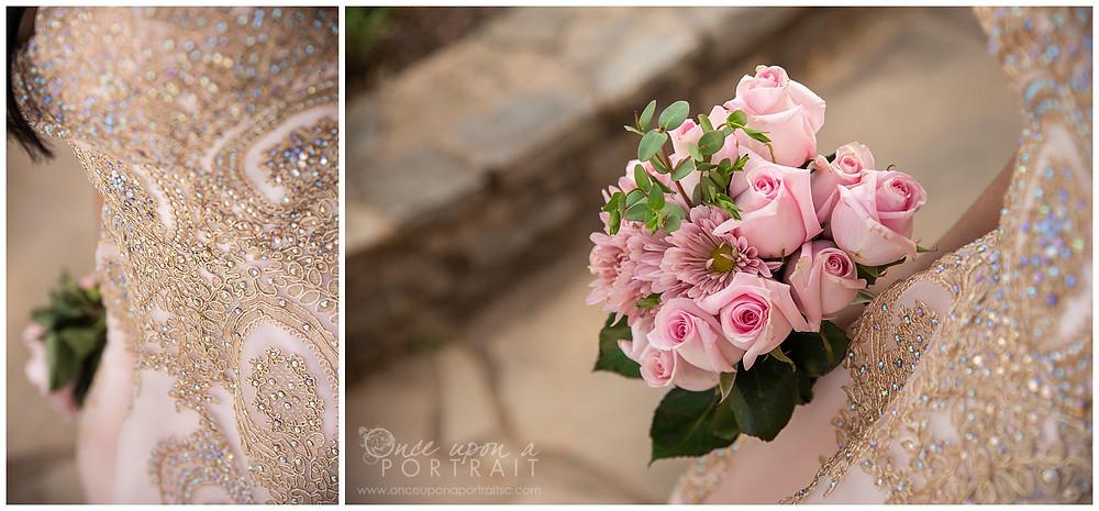 Falls Park Quinceañera 15 sweet sixteen 16 princess ballgown bouquet detail beading crystals beautiful pink portrait