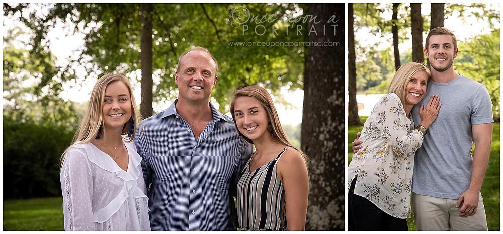 Furman University family portraits dad daughters mom son kids siblings spouse lake