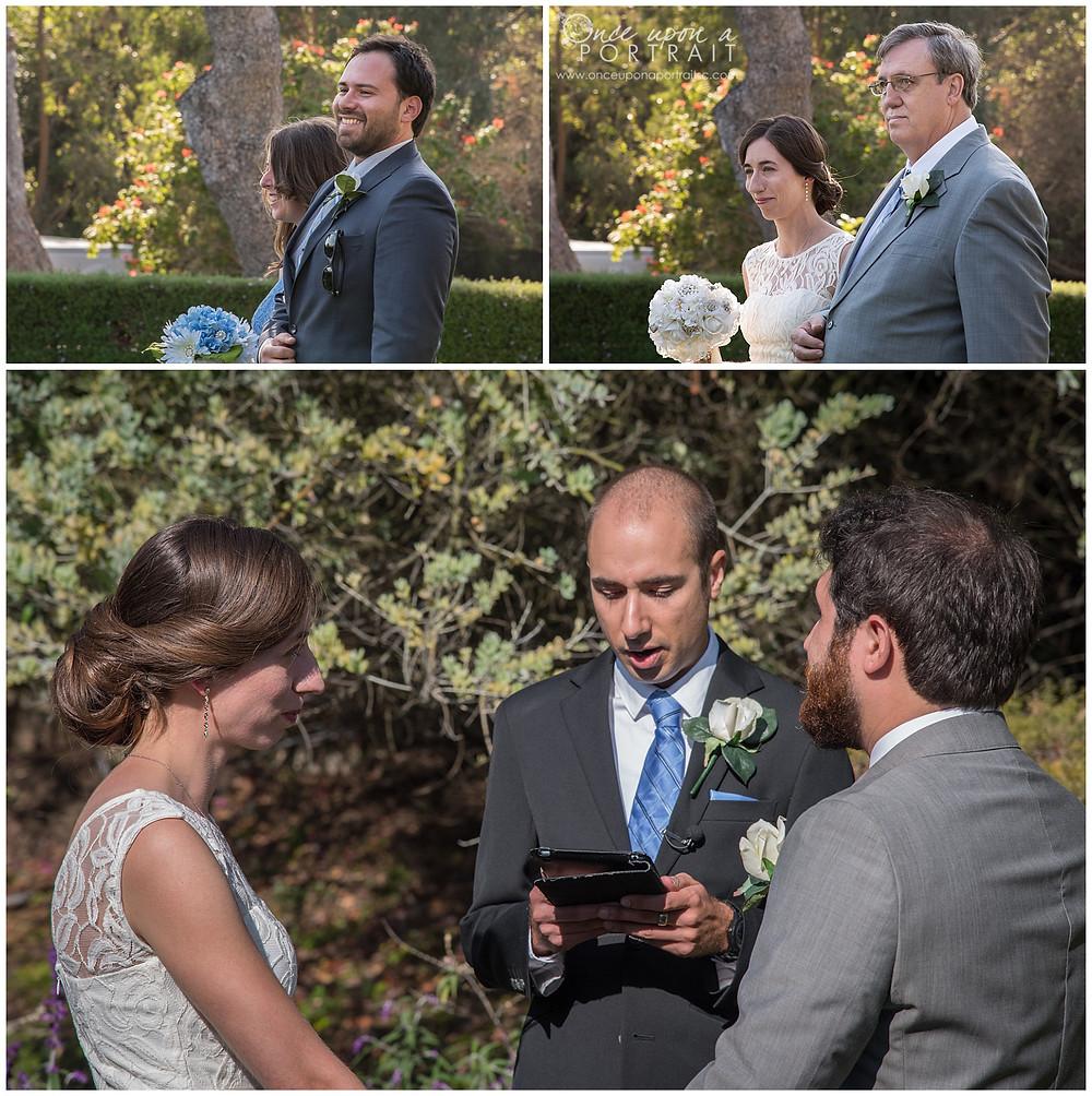 ceremony malibu wedding california LA bridal party bride father groom husband