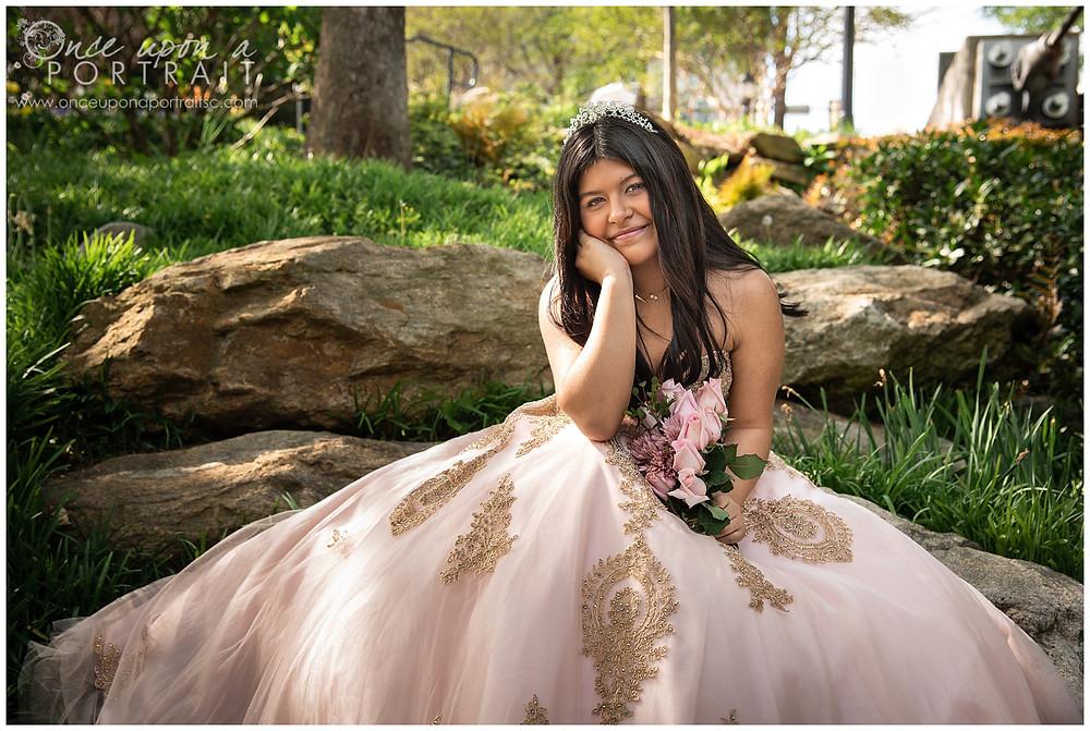 Falls Park Quinceañera 15 sweet sixteen 16 princess ballgown bouquet tiara