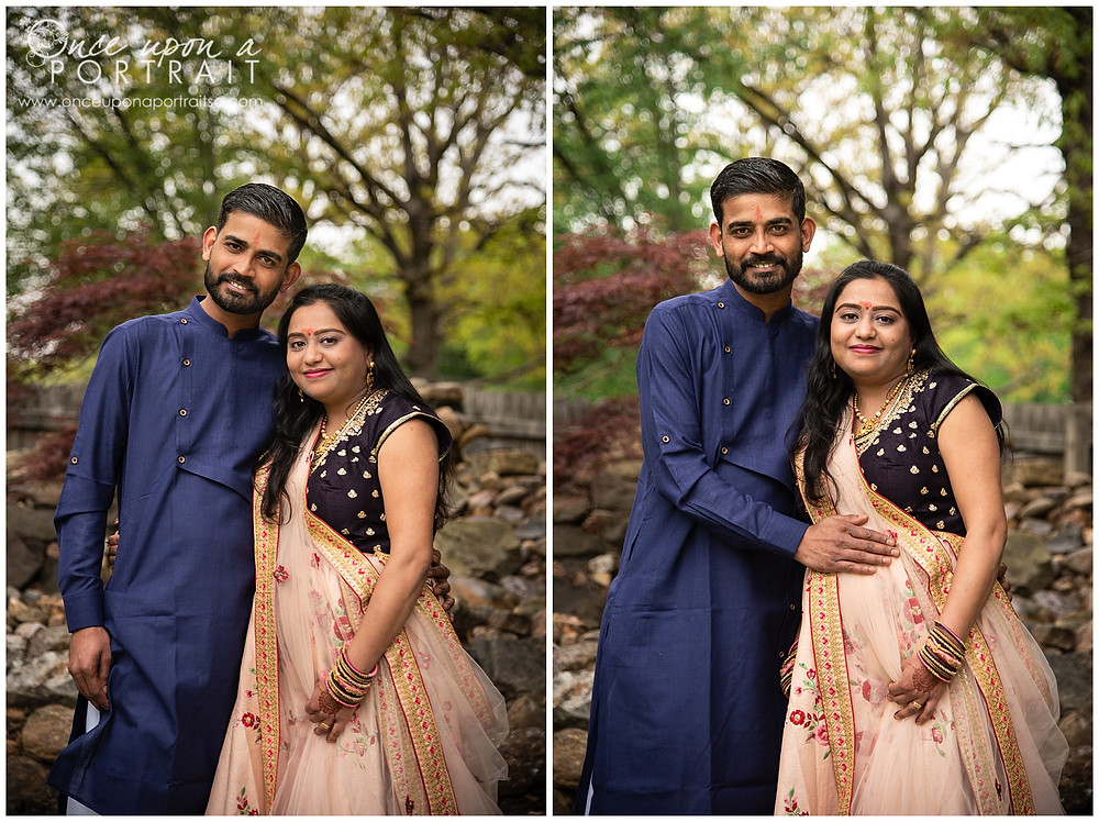 Hindu baby shower portraits mother father mom dad husband wife expecting pregnant
