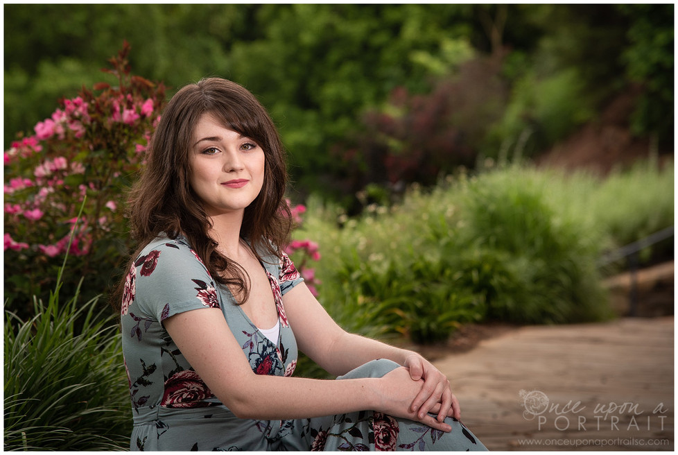 Sarah | Spring Senior Session at Falls Park in Greenville, South Carolina