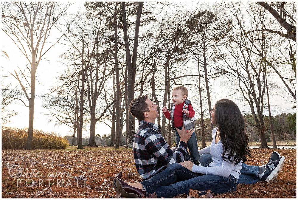 Furman University lake leaves mom dad baby toddler fall autumn Christmas posed red white black