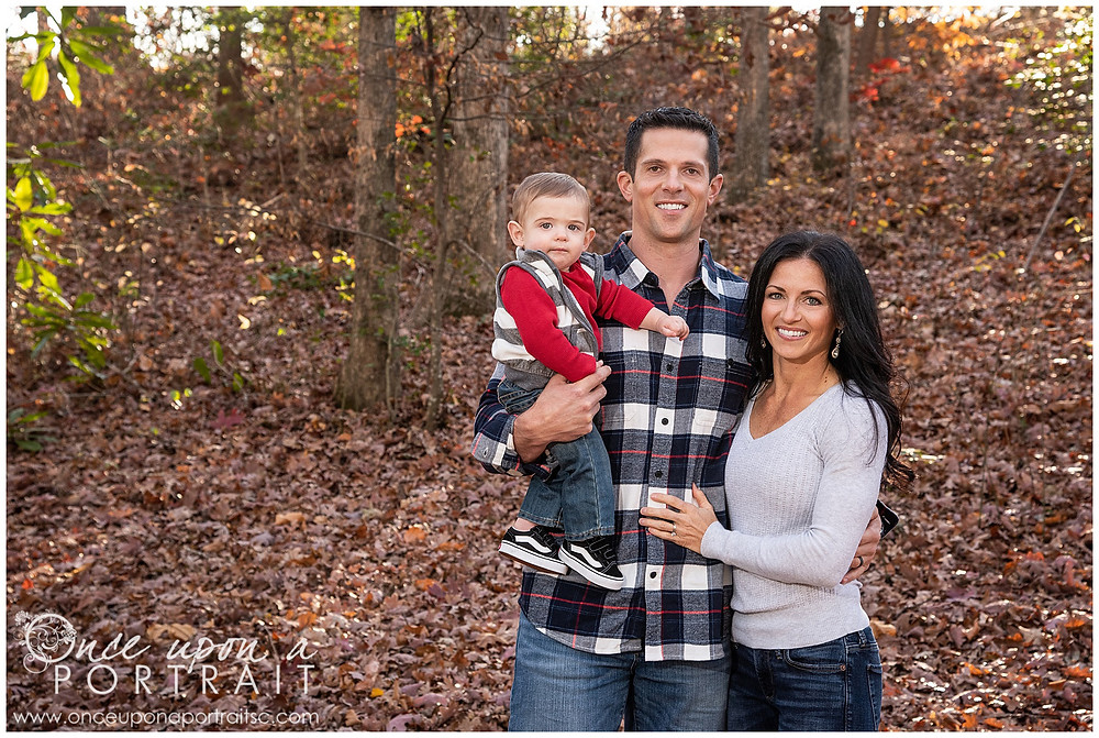 Furman University leaves mom dad baby toddler fall autumn Christmas posed red white black
