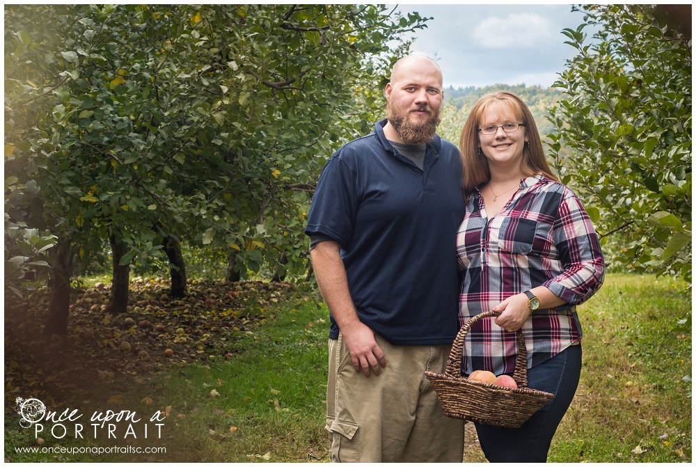 Couple family portrait apple picking Sky Top Simpsonville South Carolina