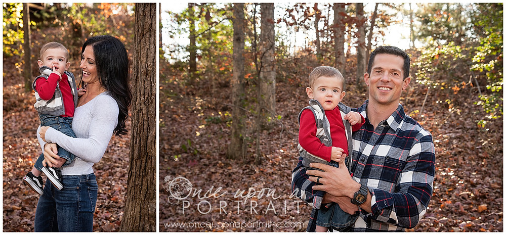 Furman University leaves mom dad baby toddler fall autumn Christmas posed candid red white black