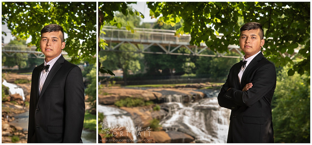 Hillcrest High School senior Falls Park Greenville outdoor bridge waterfall suit jacket