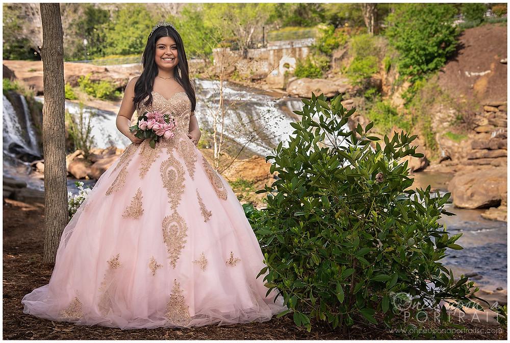 Falls Park Quinceañera 15 sweet sixteen 16 princess ballgown tiara bouquet waterfall outdoor