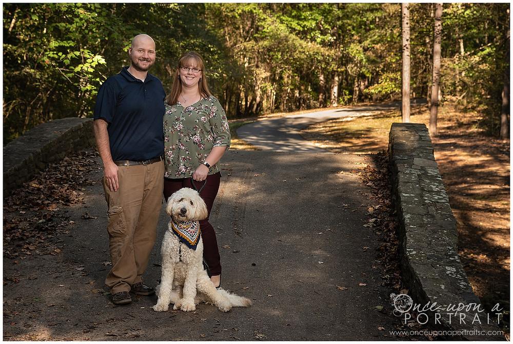 Furman University family photos dog pet fall bridge