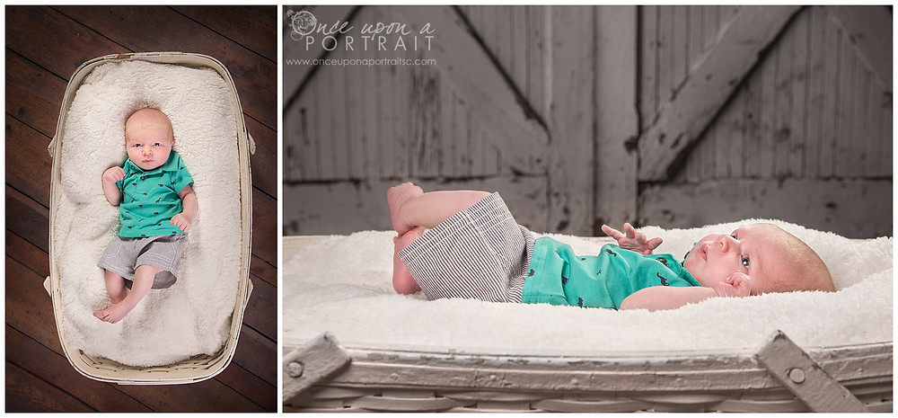 newborn baby boy studio session blue eyes shirt fuzzy soft bassinet