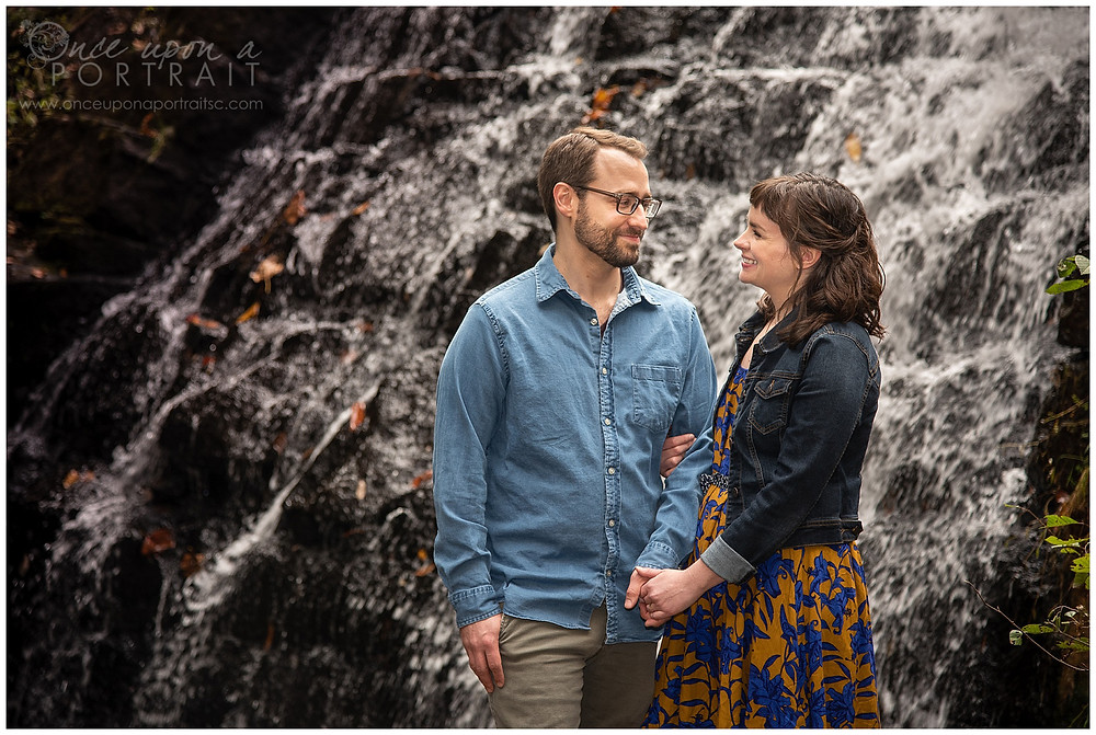Paris Mountain Greenville Woods engagement waterfall autumn