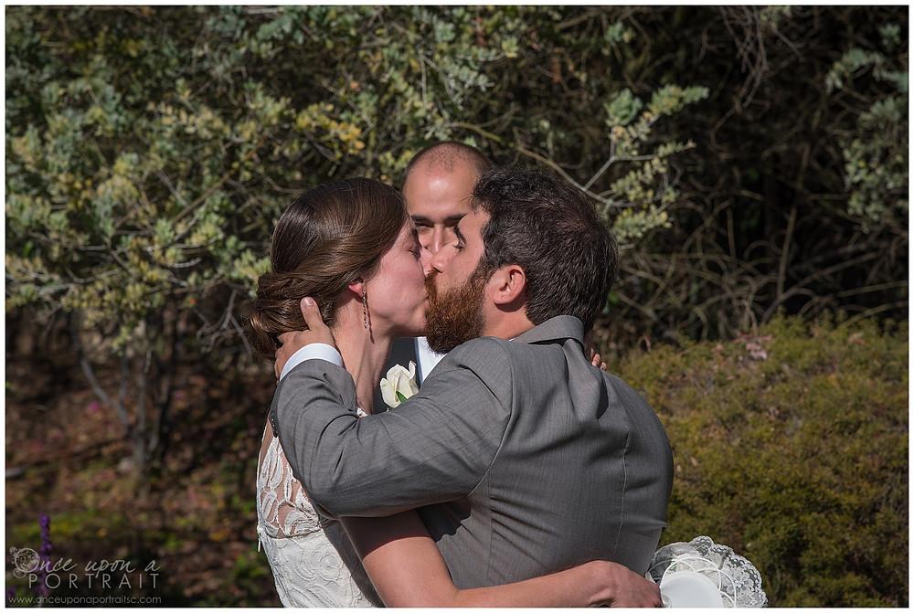 malibu beach wedding california los angeles first kiss bride groom husband wife