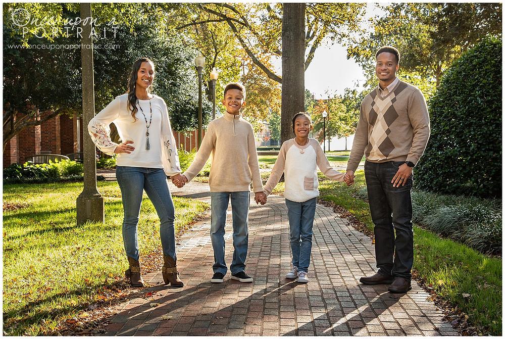 Furman University family portraits brick outdoors kids children
