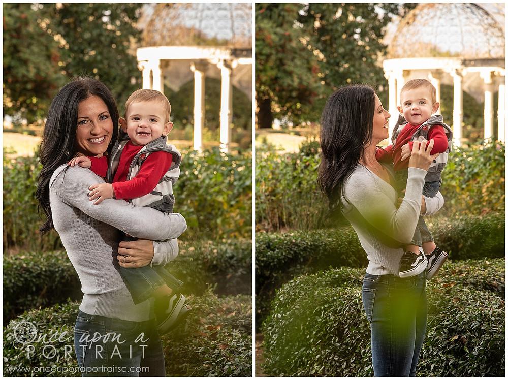 Furman University mom baby toddler fall autumn Christmas posed red white black rose garden