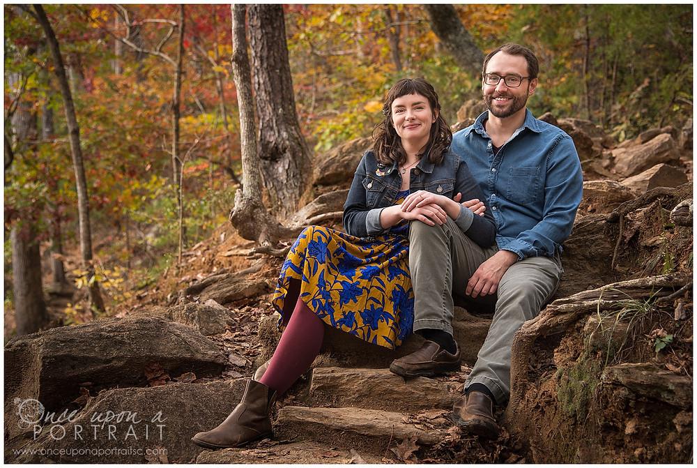 Paris Mountain Greenville Woods engagement fall