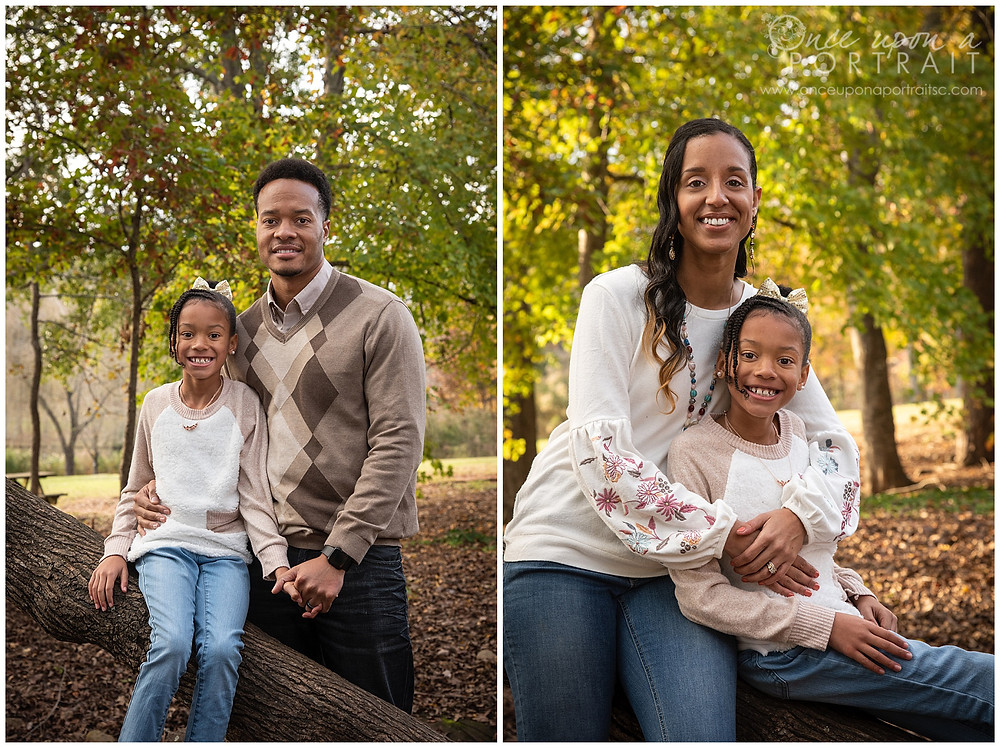 Furman University family portraits outdoors fall autumn leaves mom dad daughter