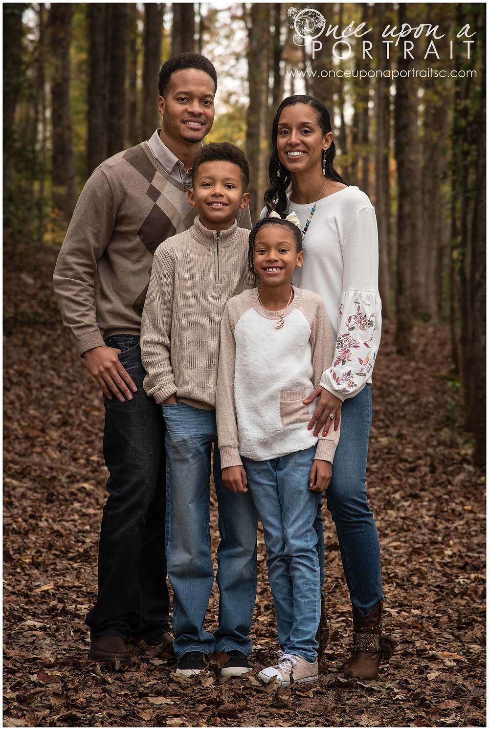 Furman University family portraits outdoors fall autumn leaves mom dad daughter son kids