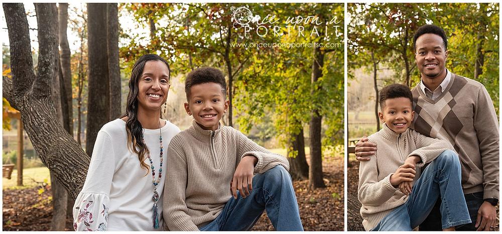 Furman University family portraits outdoors fall autumn leaves mom dad son