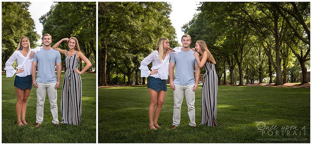 Furman University family portraits sibling fun candid