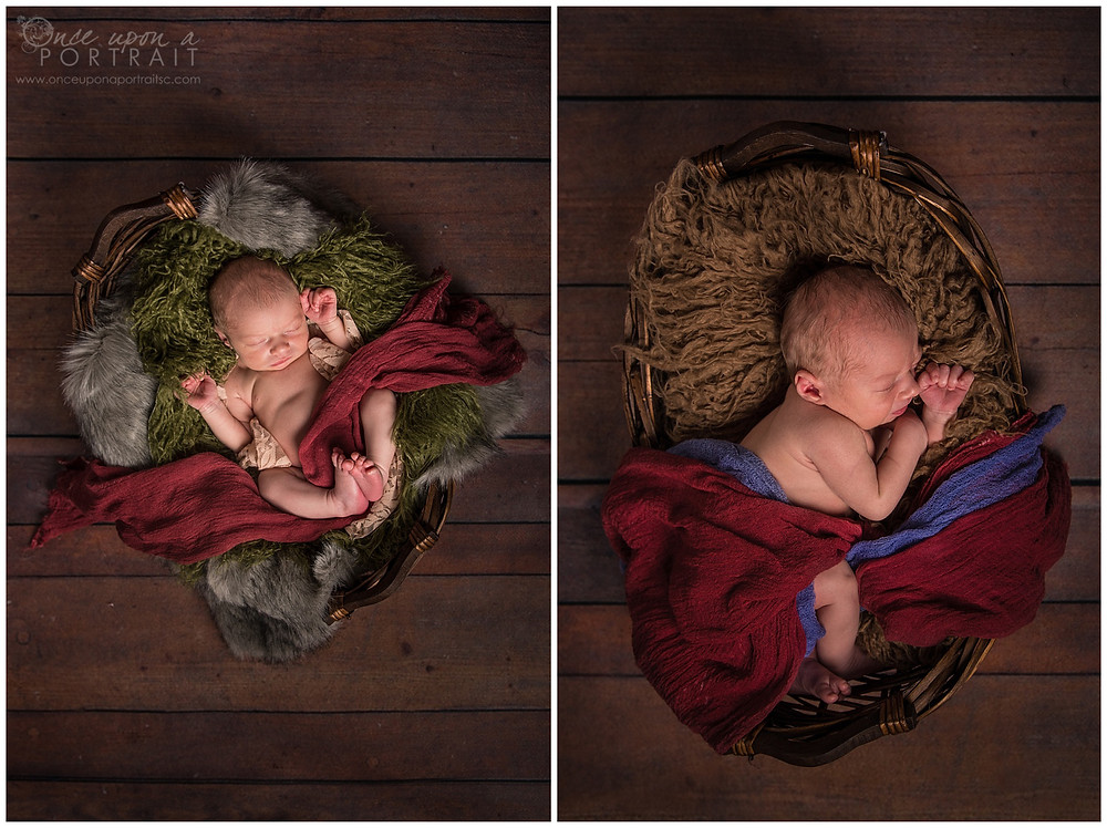 newborn baby boy studio session green sleeping fur brown gray grey